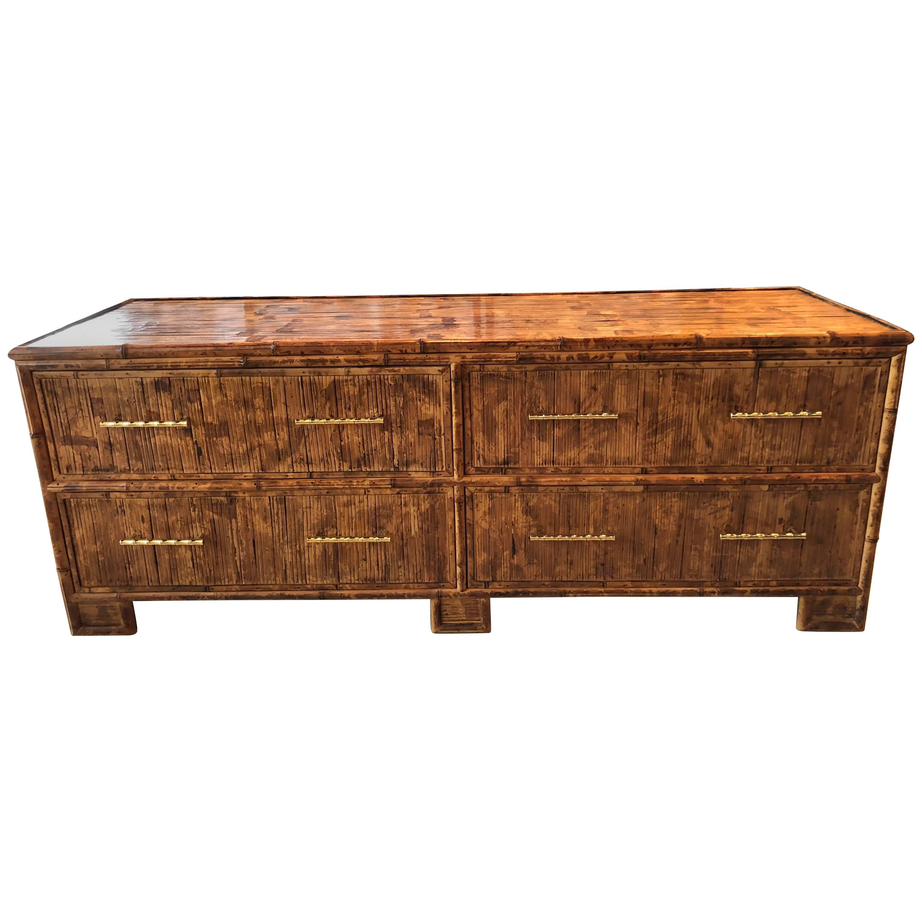 Split Bamboo Reed Credenza Sideboard TV Media Console