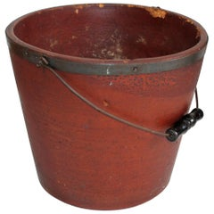 19th Century Original Red Painted Fibre, Wood Bucket