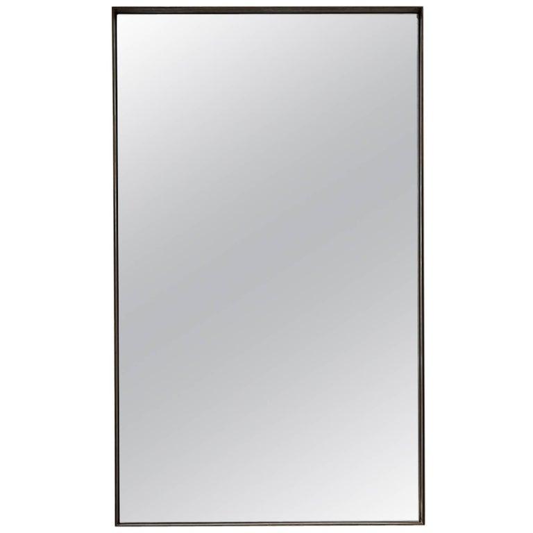 Salvatori Rectangular Quadro Mirror with Deep Frame in Burnished Brass