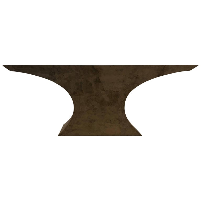 Striking Large Table Base in Faux Marble Finish For Sale