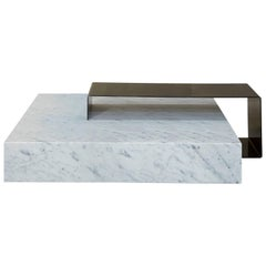 Salvatori Ta_Volo Coffee Table in Iron & Bianco Carrara Marble by Franz Siccardo