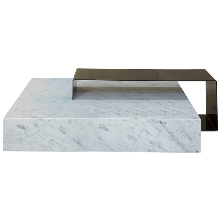 Salvatori Ta_Volo Coffee Table in Iron & Bianco Carrara Marble by Franz Siccardo For Sale