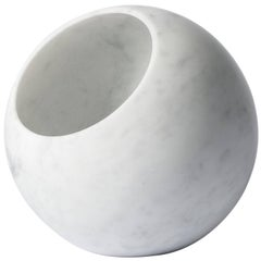 Urano Spherical Table Lamp in Bianco Carrara Marble by Elisa Ossino
