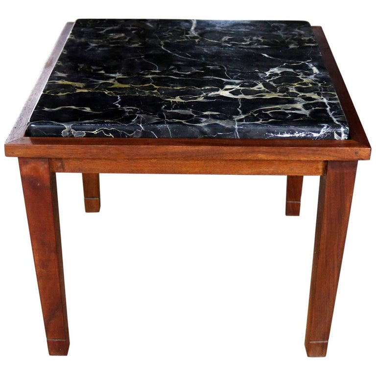 Mid-Century Modern Walnut and Black Marble Square End or Side Table For Sale