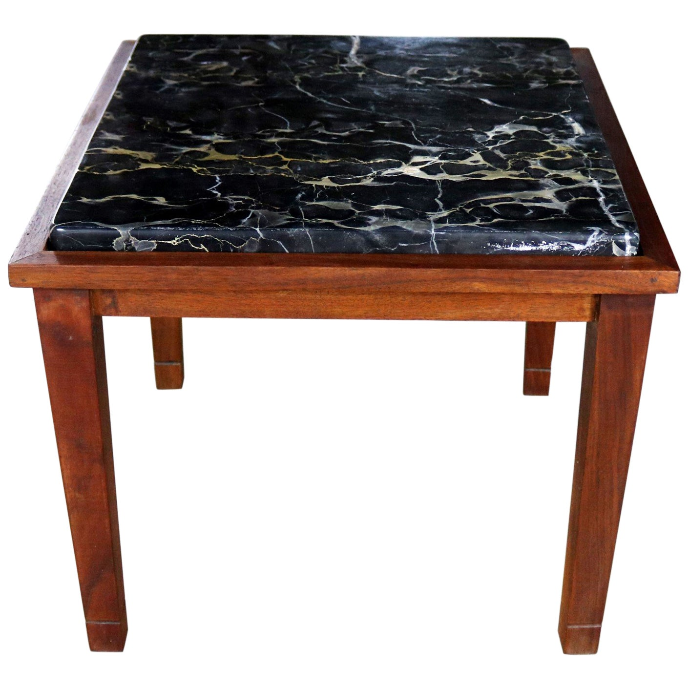 Mid-Century Modern Walnut and Black Marble Square End or Side Table