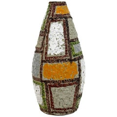 Vintage Mid-Century Modern Raymor Patchwork Ceramic Vase Fratelli Fanciullacci