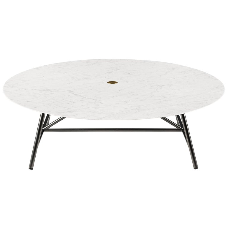 Salvatori Large W Round Coffee Table In Lithoverde Bianco Carrara - White carrara marble coffee table