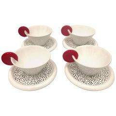 Set of Four Italian Espresso Cups & Saucers Memphis Era by Mas