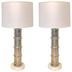 Pair of Italian Chrome and Marble Bamboo Motif Table Lamps