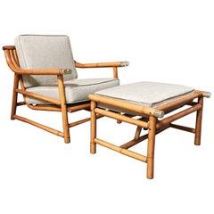 Mid-Century Modern Rattan Lounge Chair and Ottoman