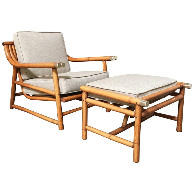 Mid-Century Modern Rattan Lounge Chair and Ottoman