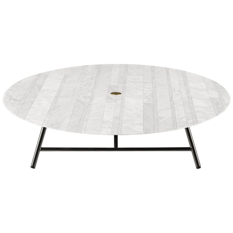 Salvatori Low Large W Round Coffee Table In Lithoverde Bianco Carrara Marble For Sale At 1stdibs