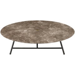 Salvatori Low Large W Round Coffee Table in Honed Bianco Carrara Marble