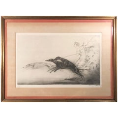 """Louis Icart """"Speed"""" Hand Colored Aquatint Signed and with Blind Stamp"""
