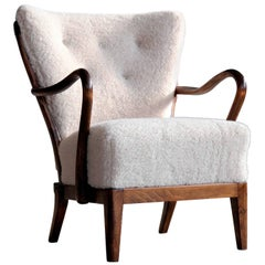 Slagelse Mobelvaerk Model 117 Lounge Chair in Lambswool Danish Midcentury