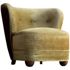 Viggo Boesen Attributed, 1940s Lounge or Slipper Chair in Mohair