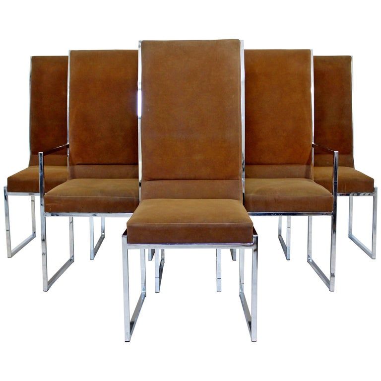 Mid-Century Modern Milo Baughman for DIA Set of Six Chrome Dining Chairs, 1970s
