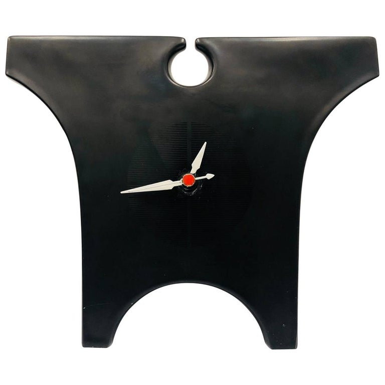 Rare Ceramic Clock Designed by Lino Sabattini for Rosenthal Signed Memphis Era
