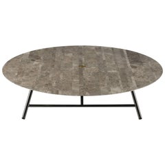 Salvatori Low Large W Round Coffee Table in Lithoverde® Gris du Marais® Marble