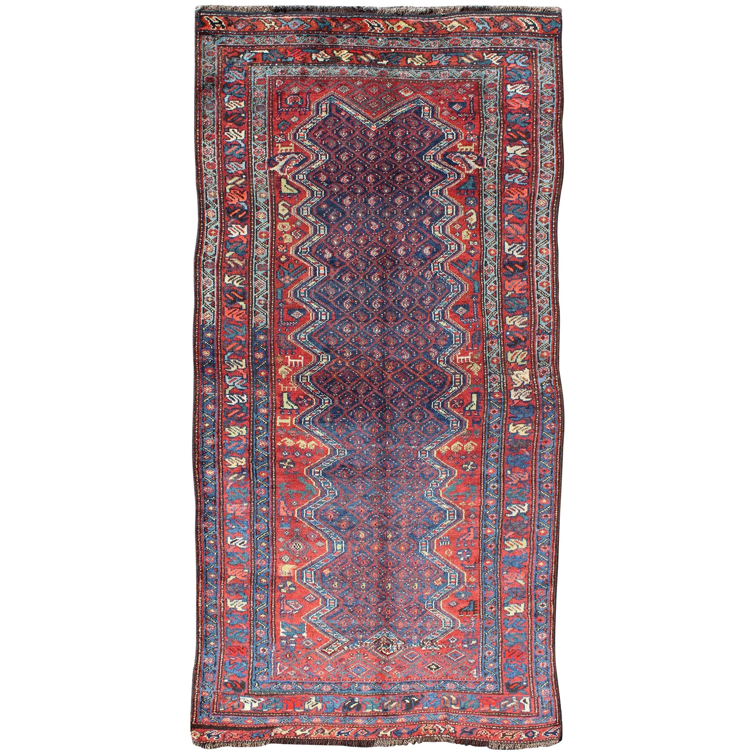 Red And Blue Antique N.W. Persian Rug With Zig Zag Field And Tribal Motifs  For