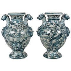 Pair of 18th Century, Italian Faience Pharmacy Vases