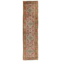 Indian Amritsar Antique Runner in Ivory, Red, Pink, Blue, Green