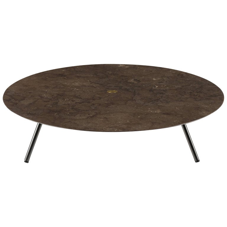 Salvatori low large w round coffee table in honed pietra d for Large low coffee table