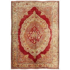 Red and Cream Antique Turkish Ladik Rug with Floral Medallion