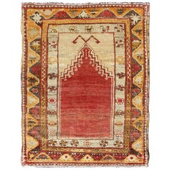 1920s Antique Turkish Oushak Prayer Rug in Red, Ivory, Orange, Cream and Brown