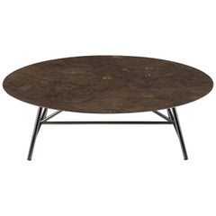 Salvatori Large W Round Coffee Table in Honed Pietra d'Avola Natural Stone