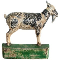 Cast Iron Goat in Original Painted Surface