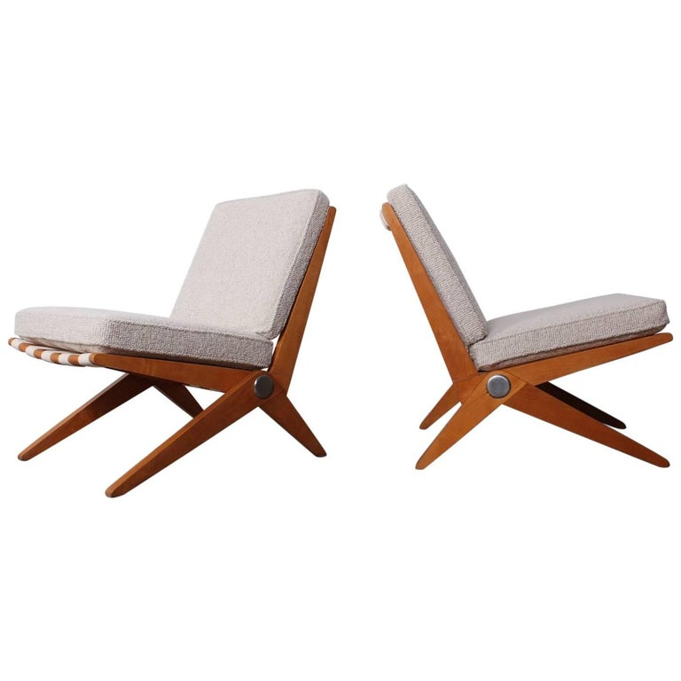 Pair of Knoll Scissor Chairs by Pierre Jeanneret For Sale