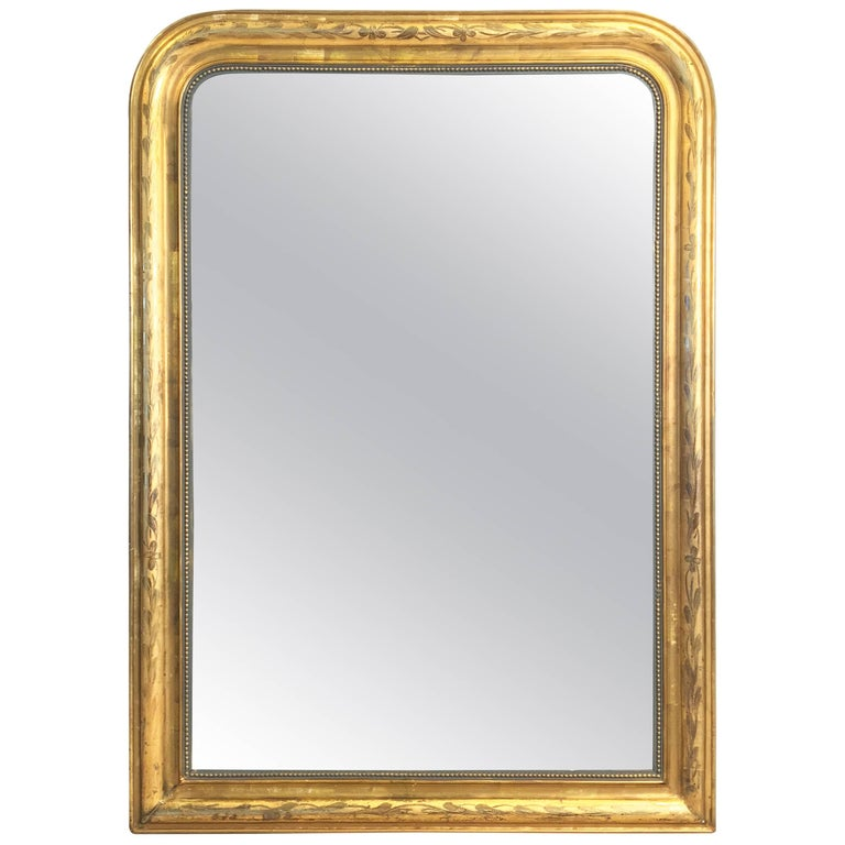 Large Louis Philippe Arch Top Gilt Mirror (H 55 1/4 x W 39 3/4) For Sale
