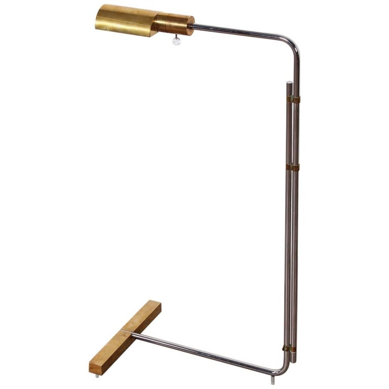 Early Brass and Chrome Floor Lamp by Cedric Hartman 1