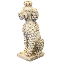 English Garden Stone Dog - Poodle