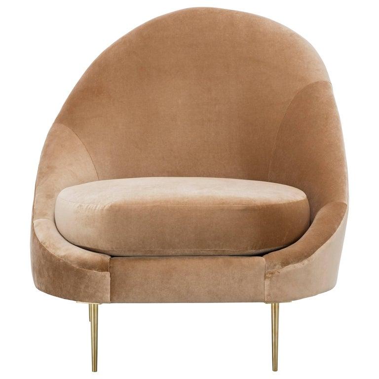 SANDRINE CHAIR - Modern Asymmetrical Velvet Chair with Solid Brass Legs For Sale
