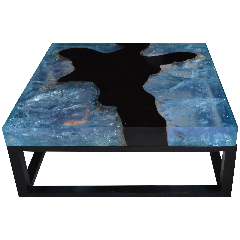 Andrianna Shamaris Blue Cracked Resin Coffee Table
