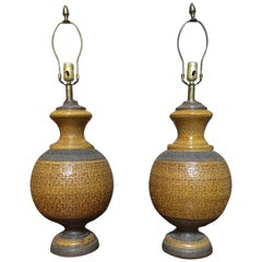 Pair of Bitossi Mustard Ceramic Table Lamps