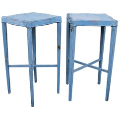 Blue Painted Pair of Side Tables