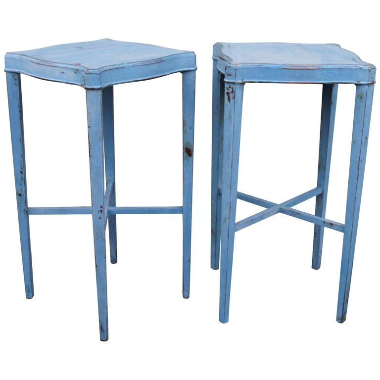 Blue Painted Pair of Side Tables 1