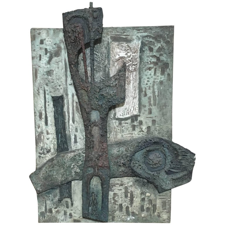 Brutalist Abstract High Relief Panel by Laurent Jimenez Balaguer
