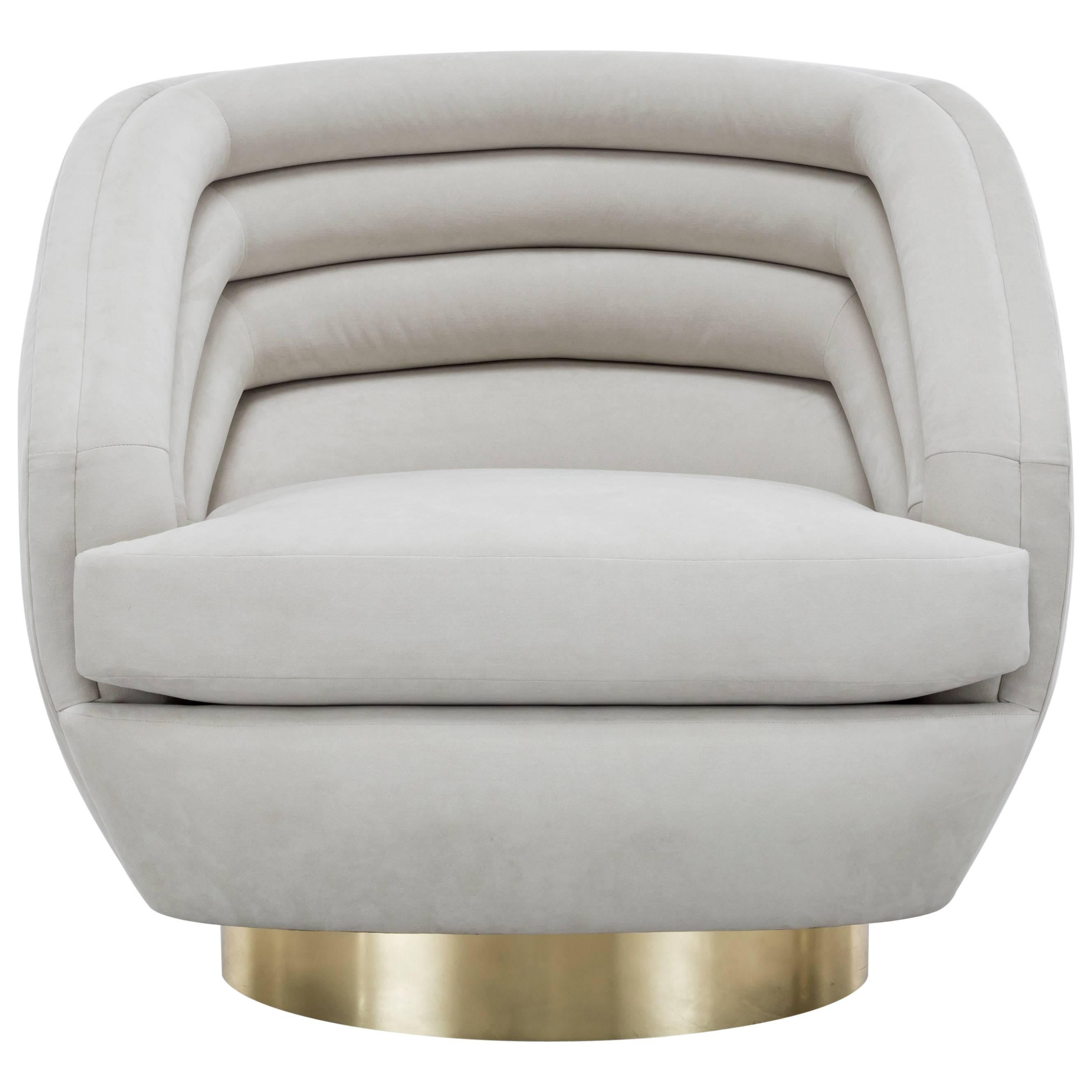 RAOUL SWIVEL CHAIR LARGE - Modern Ultra Suede Swivel Chair with Brass Base