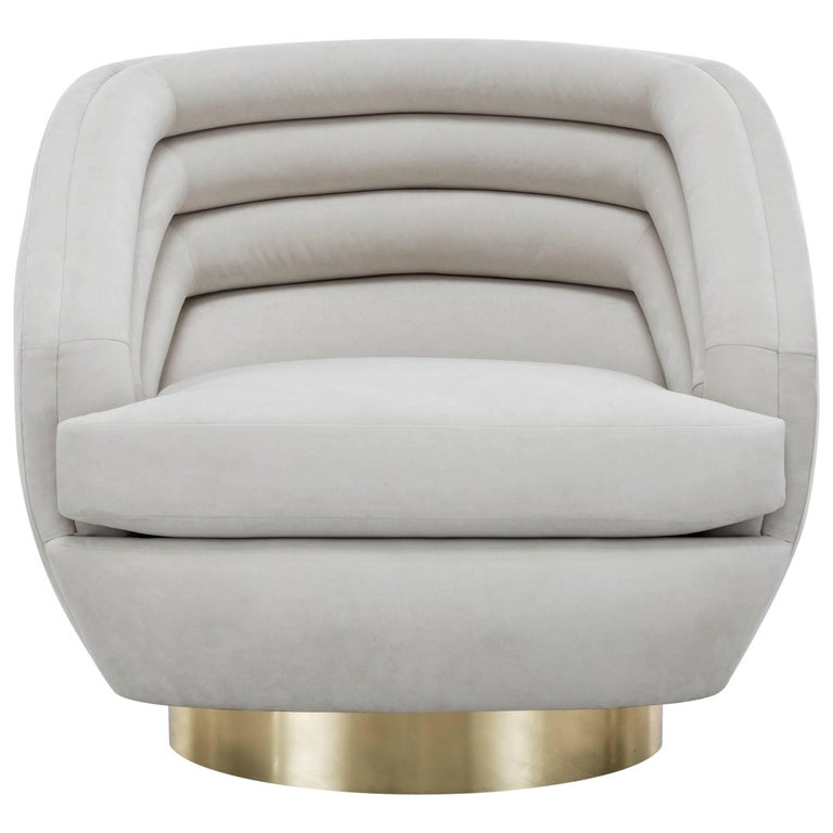 RAOUL SWIVEL CHAIR LARGE - Modern Ultra Suede Swivel Chair with Brass Base For Sale