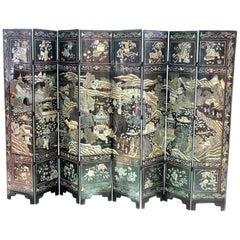 18th Century Eight-Panel Coromandel and Lacquer Screen