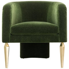 POMPE CHAIR - Modern Mohair Chair with Stiletto Legs and a Waterfall Back