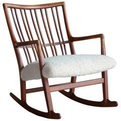 Hans Wegner 1940s Ml-33 Rocking Chair in Teak and Lambswool for Mikael Laursen