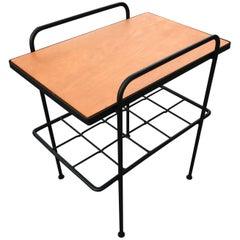Inco Iron and Birch Side Table 1950s, California Design