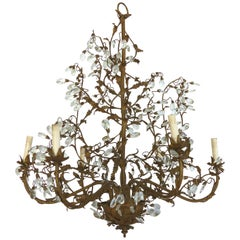 Sculptural Gilt Iron and Crystal Chandelier