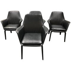 Minotti Set of Four York Lounge Leather Armchairs
