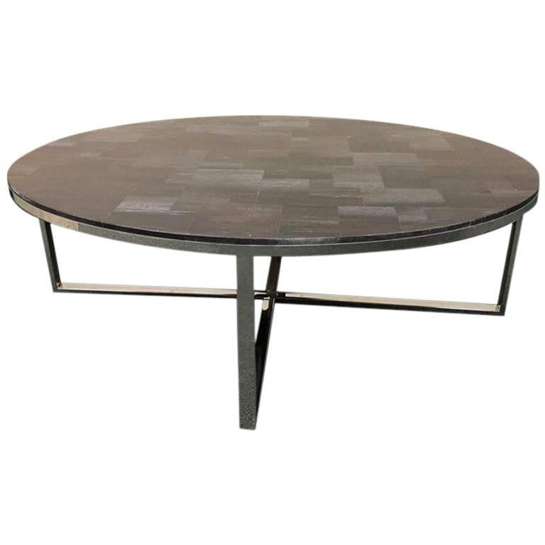 Superbe Palecek Petrified Wood And Chrome Coffee Table For Sale
